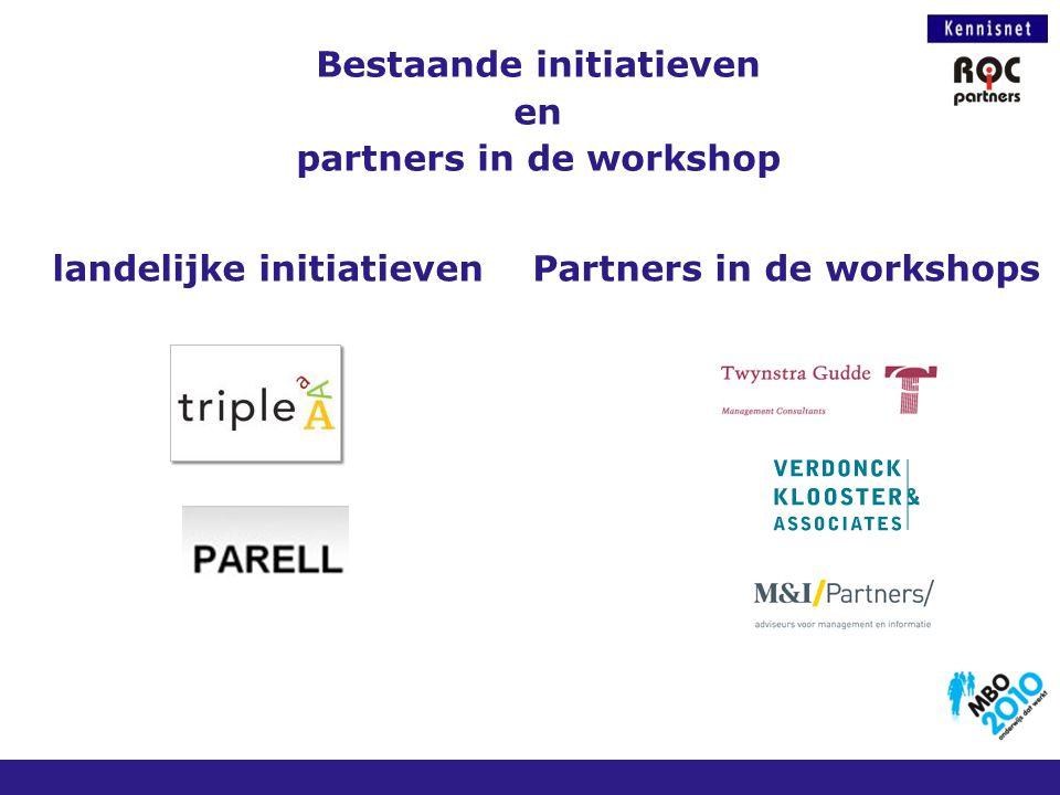 Bestaande initiatieven en partners in de workshop landelijke initiatievenPartners in de workshops