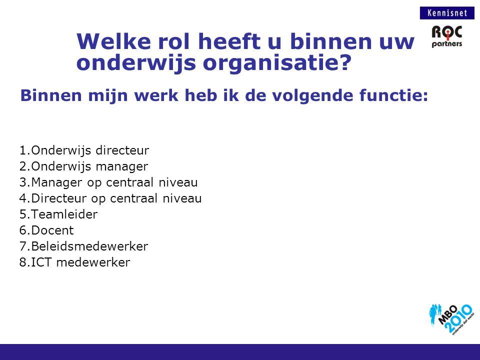Welke rol heeft u binnen uw onderwijs organisatie? Binnen mijn werk heb ik de volgende functie: 1.Onderwijs directeur 2.Onderwijs manager 3.Manager op