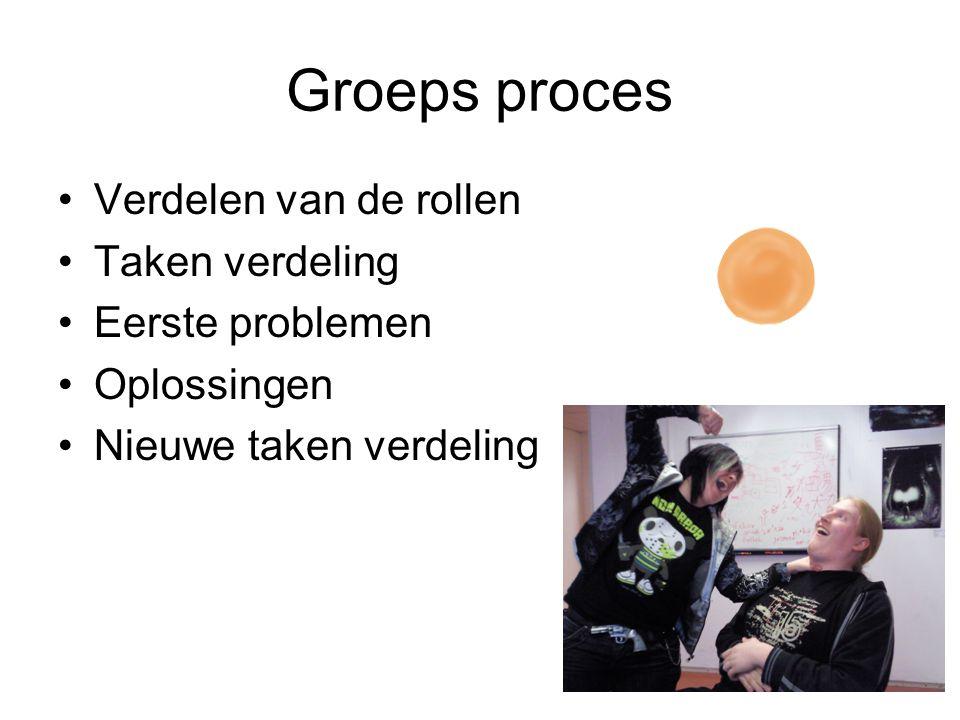 Groeps proces Verdelen van de rollen Taken verdeling Eerste problemen Oplossingen Nieuwe taken verdeling