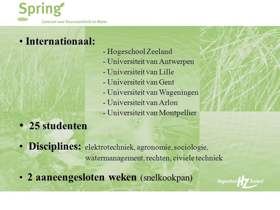 Internationaal: - Hogeschool Zeeland - Universiteit van Antwerpen - Universiteit van Lille - Universiteit van Gent - Universiteit van Wageningen - Universiteit van Arlon - Universiteit van Montpellier 25 studenten Disciplines: elektrotechniek, agronomie, sociologie, watermanagement, rechten, civiele techniek 2 aaneengesloten weken (snelkookpan)