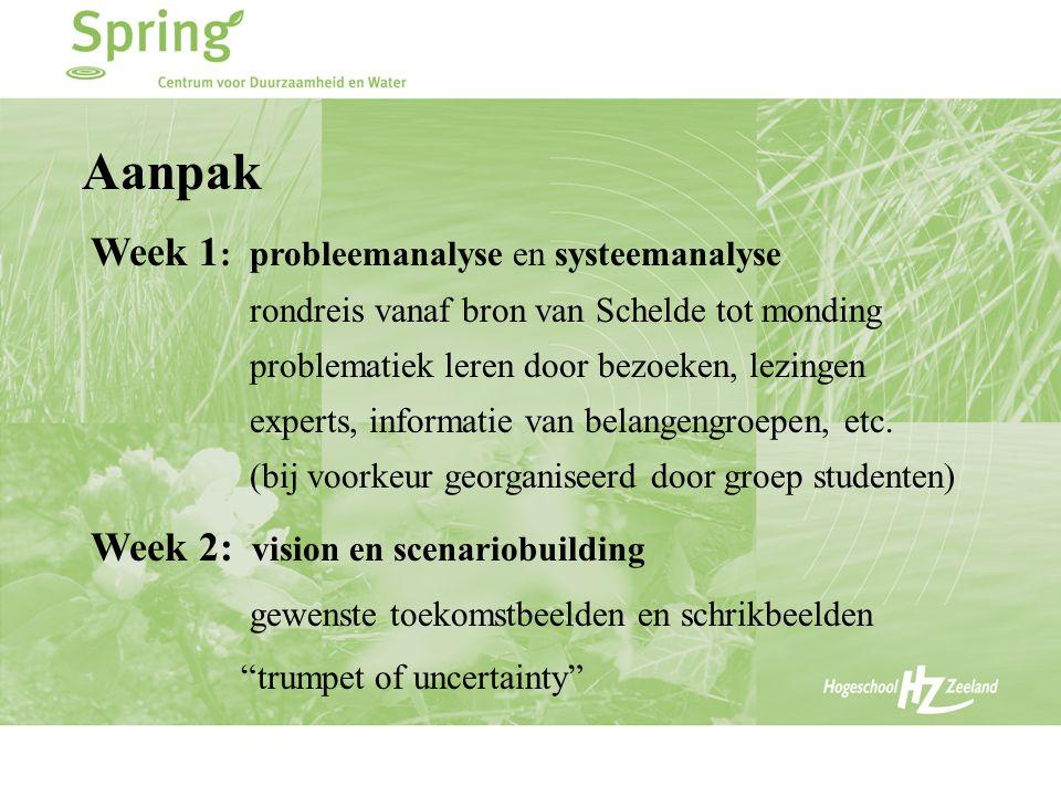 Aanpak Week 1 : probleemanalyse en systeemanalyse rondreis vanaf bron van Schelde tot monding problematiek leren door bezoeken, lezingen experts, informatie van belangengroepen, etc.