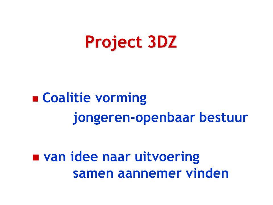 Project 3DZ n Coalitie vorming jongeren-openbaar bestuur n van idee naar uitvoering samen aannemer vinden