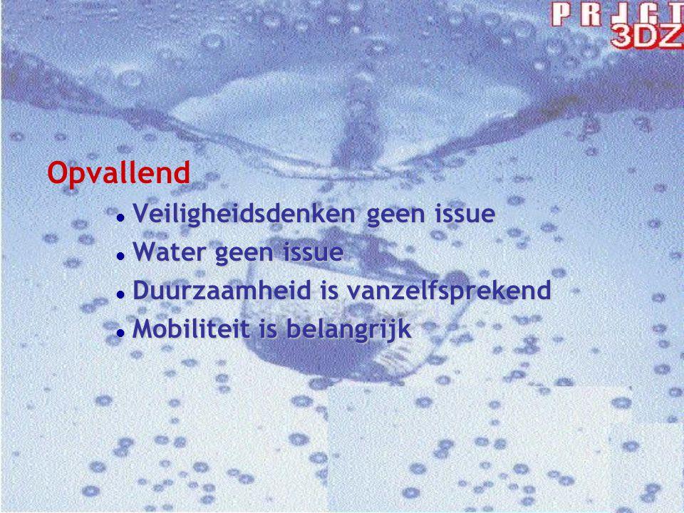 Opvallend l Veiligheidsdenken geen issue l Water geen issue l Duurzaamheid is vanzelfsprekend l Mobiliteit is belangrijk