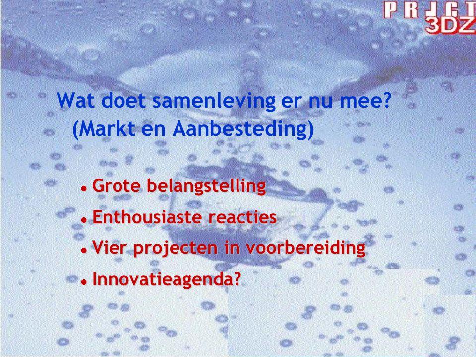 Wat doet samenleving er nu mee? (Markt en Aanbesteding) l Grote belangstelling l Enthousiaste reacties l Vier projecten in voorbereiding l Innovatieag