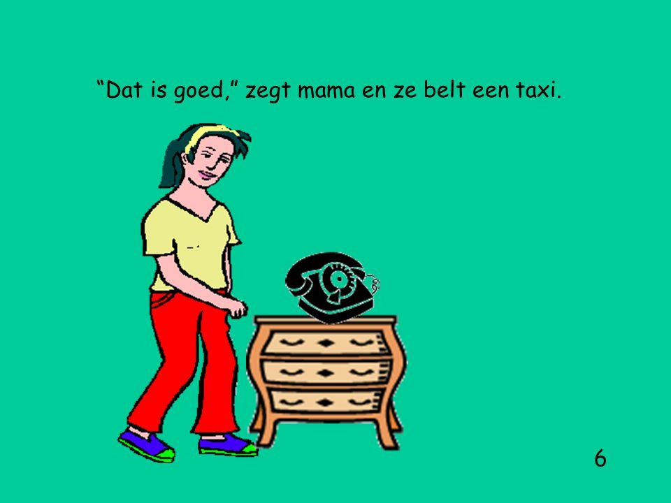 Dat is goed, zegt mama en ze belt een taxi. 6