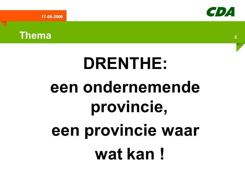17-05-2006 3 Programma:  Inleiding  Drentse provinciale bestuurscultuur  ILG en de plattelandseconomie  Extra aandacht & middelen voor Drenthe promotie  Jeugdzorg & -werkloosheid  Starterswoningen  ASV  Conclusie