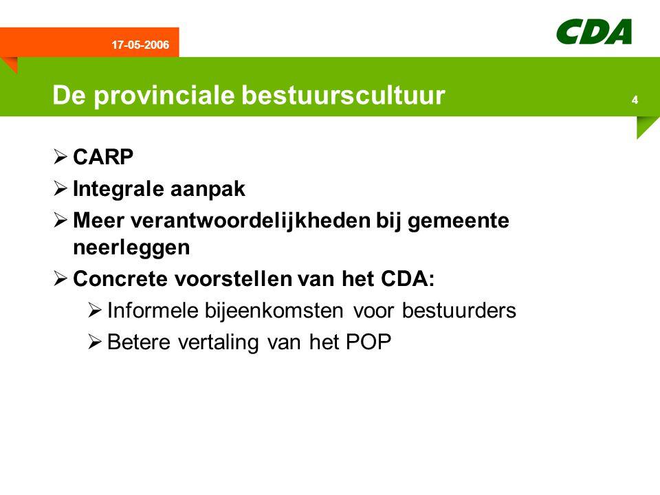 17-05-2006 5 ILG & Plattelandseconomie  Voor de komende 7 jaar totaal 500 miljoen euro budget  Uitvoering vergt een bijdrage van € 37 miljoen van Drenthe  CDA vindt dat plattelandseconomie verder versterkt moet worden  CDA wil daarom meer eigen provinciale middelen om investeringsbudget te vergroten  Daarom komt CDA met een motie voor toevoeging van €500.000 per jaar aan Fonds Stimulering Vitaal Platteland