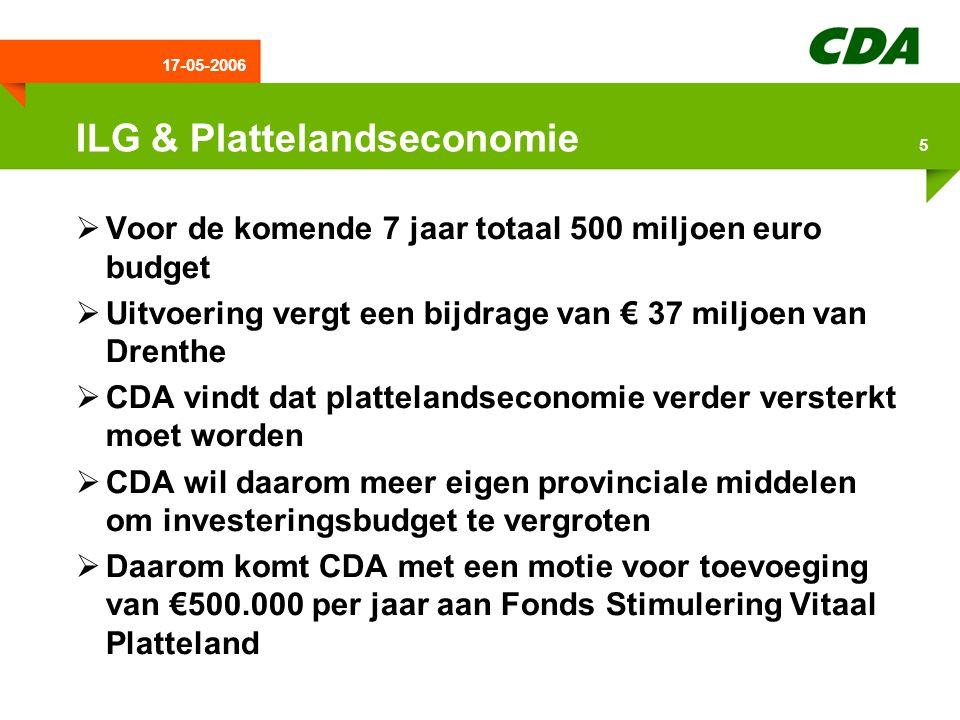 17-05-2006 6 Extra aandacht Drenthe promotie  Da's nou Drenthe begint te lopen  Er is vraag naar een bredere aanpak  CDA wil een structurele financiële ondersteuning  CDA wil goed nadenken over de juiste structuur voor de toekomst