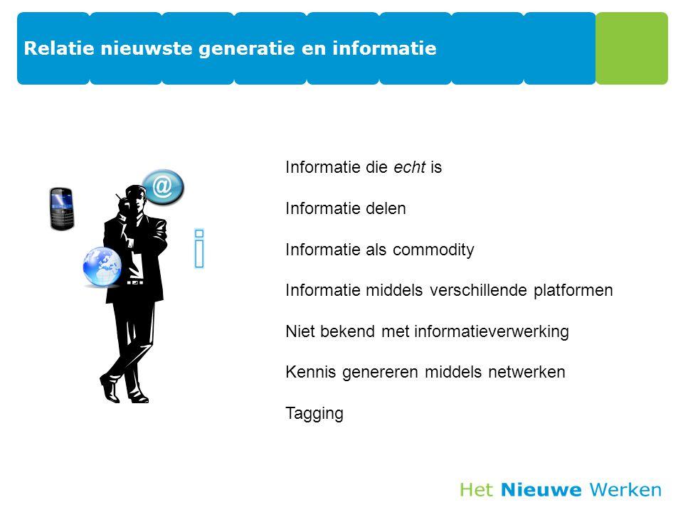 Relatie nieuwste generatie en informatie 17 Informatie die echt is Informatie delen Informatie als commodity Informatie middels verschillende platformen Niet bekend met informatieverwerking Kennis genereren middels netwerken Tagging