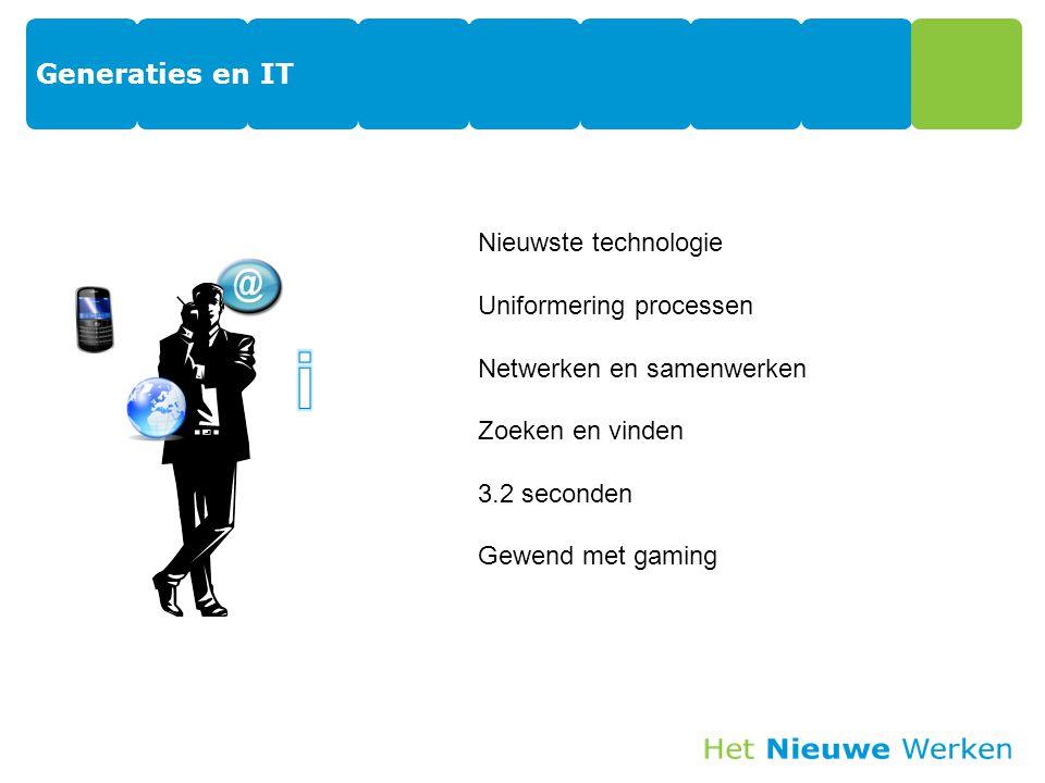 Generaties en IT 18 Nieuwste technologie Uniformering processen Netwerken en samenwerken Zoeken en vinden 3.2 seconden Gewend met gaming