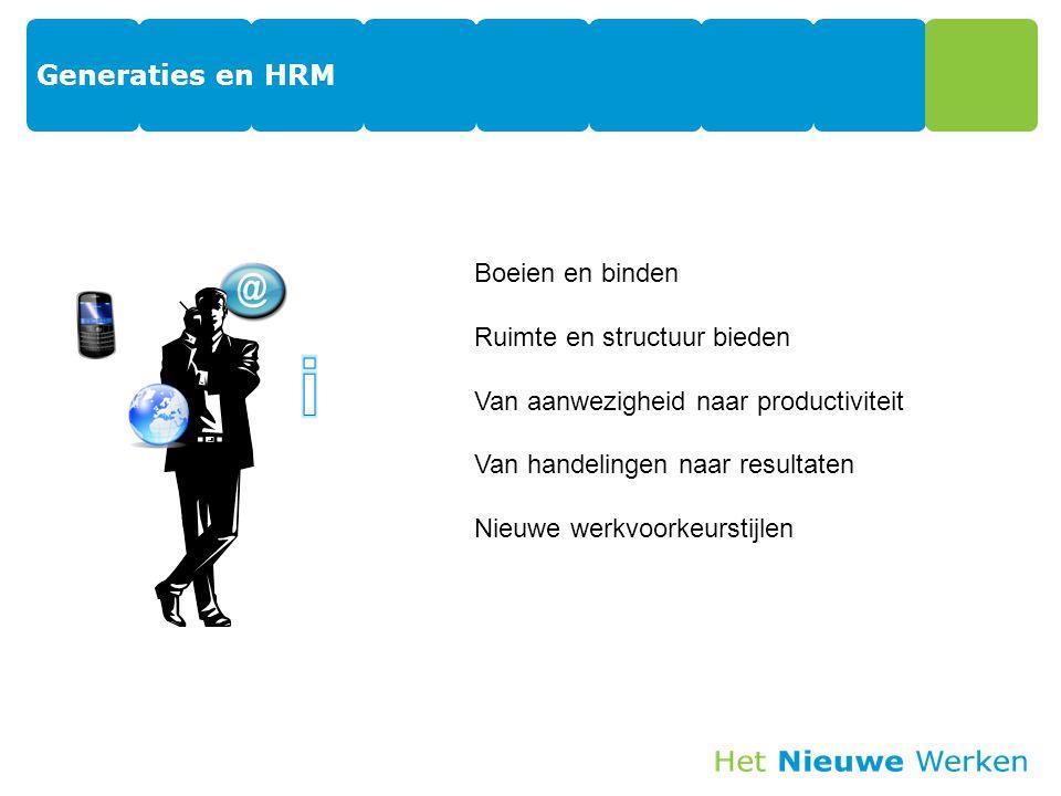 Generaties en HRM 19 Boeien en binden Ruimte en structuur bieden Van aanwezigheid naar productiviteit Van handelingen naar resultaten Nieuwe werkvoorkeurstijlen