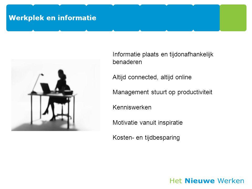 Werkplek en informatie 21 Informatie plaats en tijdonafhankelijk benaderen Altijd connected, altijd online Management stuurt op productiviteit Kenniswerken Motivatie vanuit inspiratie Kosten- en tijdbesparing