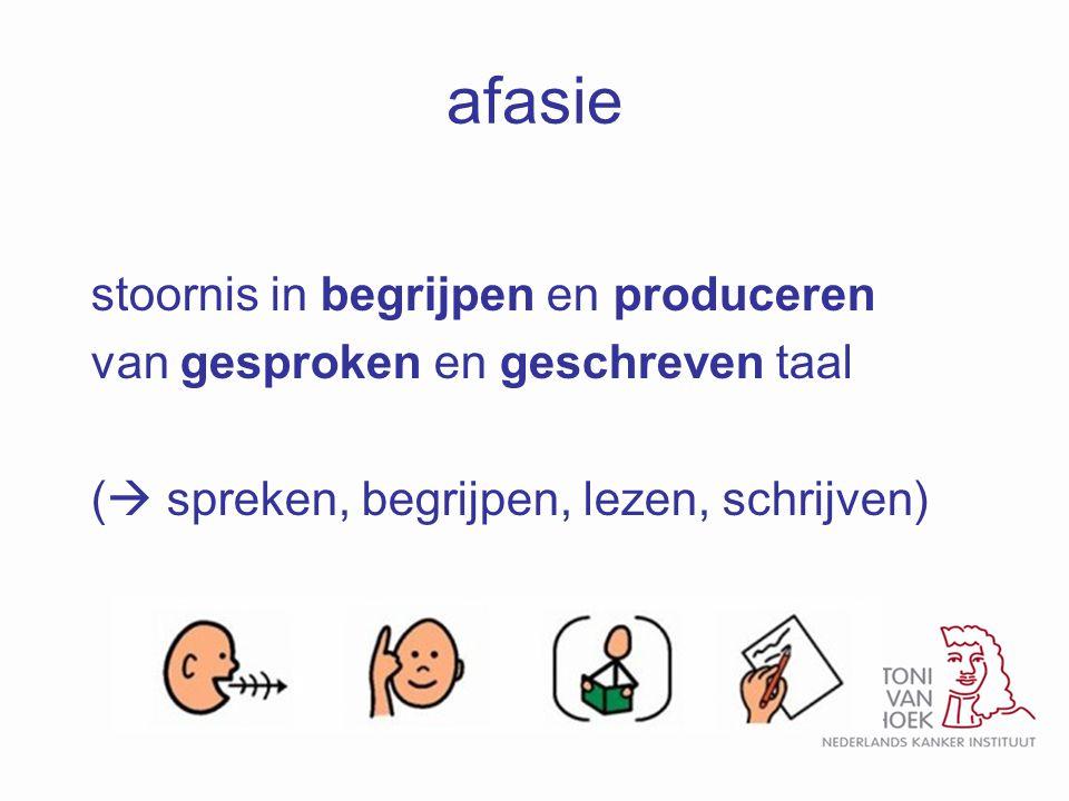 afasie stoornis in begrijpen en produceren van gesproken en geschreven taal (  spreken, begrijpen, lezen, schrijven)