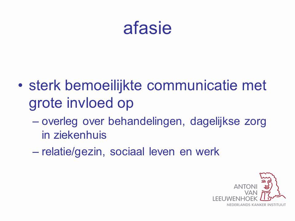 afasie sterk bemoeilijkte communicatie met grote invloed op –overleg over behandelingen, dagelijkse zorg in ziekenhuis –relatie/gezin, sociaal leven e