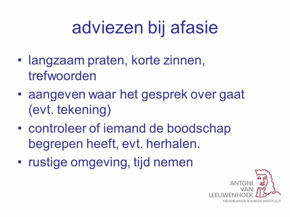 adviezen bij afasie langzaam praten, korte zinnen, trefwoorden aangeven waar het gesprek over gaat (evt. tekening) controleer of iemand de boodschap b