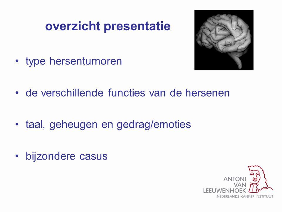 overzicht presentatie type hersentumoren de verschillende functies van de hersenen taal, geheugen en gedrag/emoties bijzondere casus