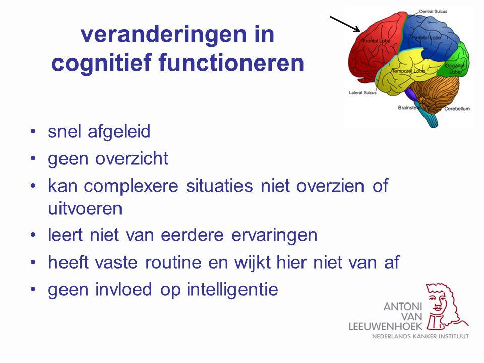 veranderingen in cognitief functioneren snel afgeleid geen overzicht kan complexere situaties niet overzien of uitvoeren leert niet van eerdere ervari