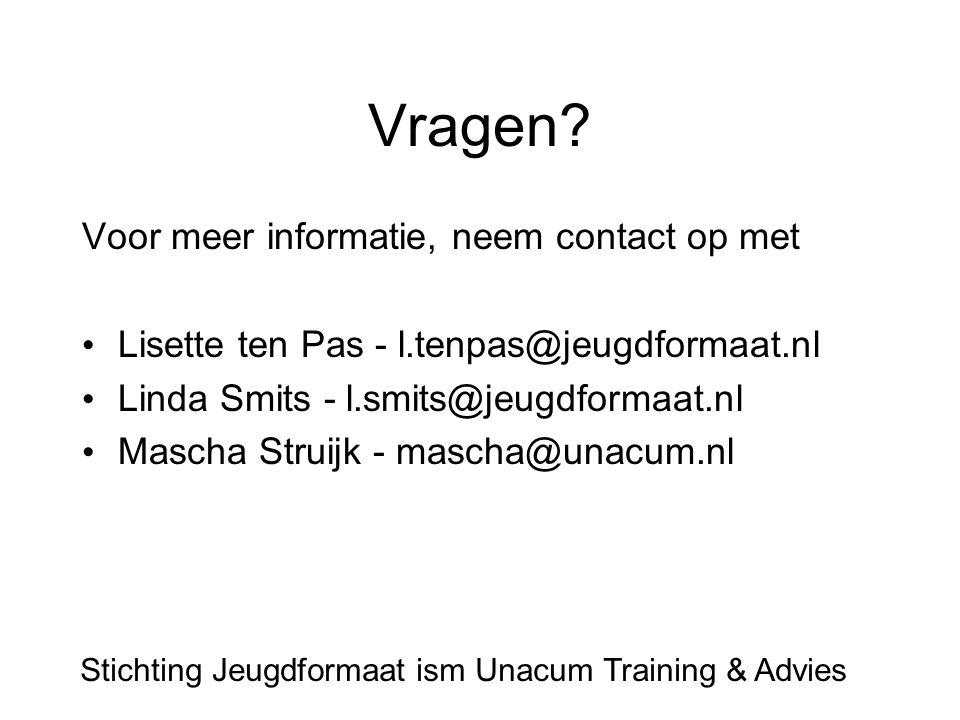 Vragen? Voor meer informatie, neem contact op met Lisette ten Pas - l.tenpas@jeugdformaat.nl Linda Smits - l.smits@jeugdformaat.nl Mascha Struijk - ma