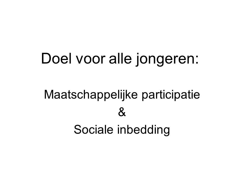 Doel voor alle jongeren: Maatschappelijke participatie & Sociale inbedding