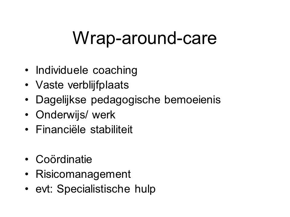 Wrap-around-care Individuele coaching Vaste verblijfplaats Dagelijkse pedagogische bemoeienis Onderwijs/ werk Financiële stabiliteit Coördinatie Risic