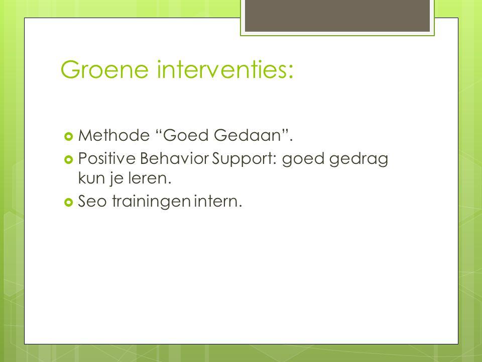 """Groene interventies:  Methode """"Goed Gedaan"""".  Positive Behavior Support: goed gedrag kun je leren.  Seo trainingen intern."""
