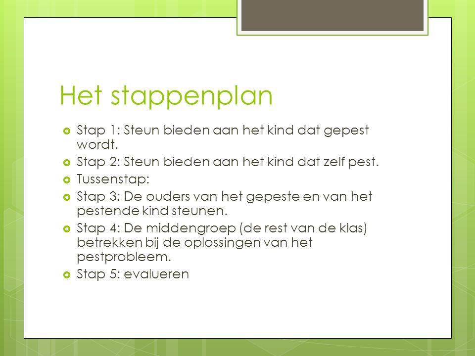 Het stappenplan  Stap 1: Steun bieden aan het kind dat gepest wordt.  Stap 2: Steun bieden aan het kind dat zelf pest.  Tussenstap:  Stap 3: De ou