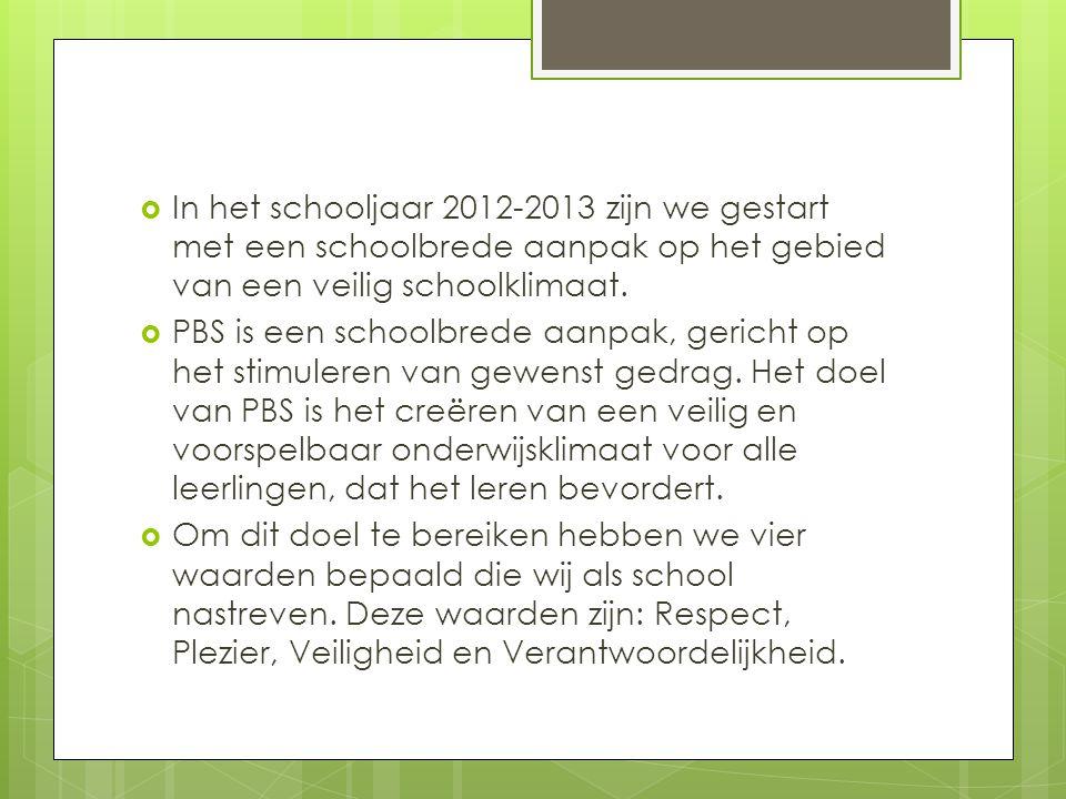  In het schooljaar 2012-2013 zijn we gestart met een schoolbrede aanpak op het gebied van een veilig schoolklimaat.  PBS is een schoolbrede aanpak,