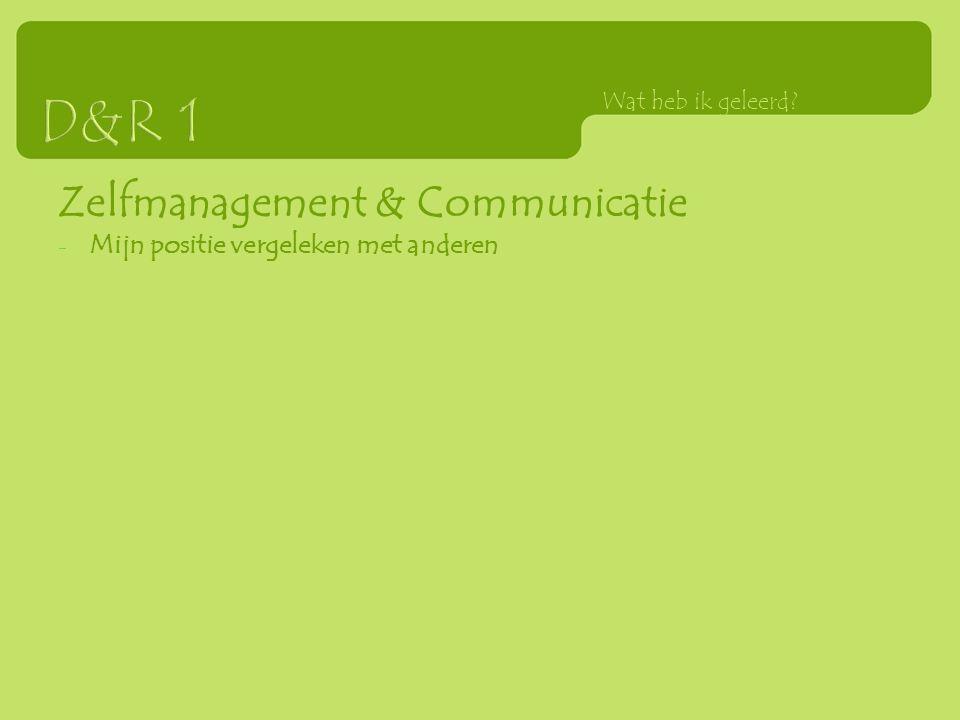 Zelfmanagement & Communicatie - Mijn positie vergeleken met anderen Wat heb ik geleerd?