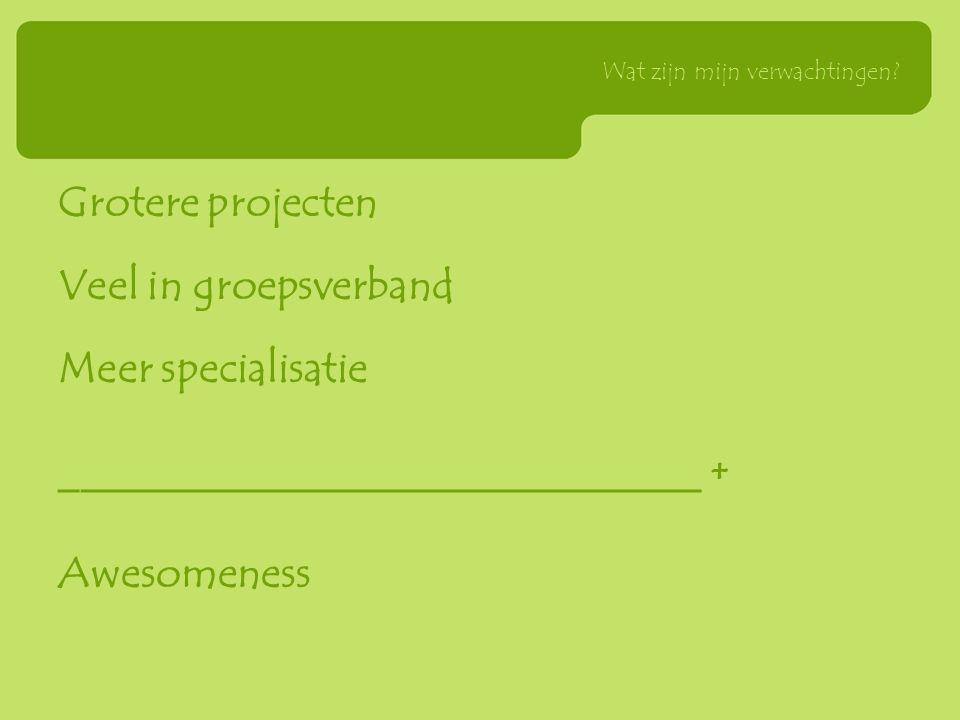 Grotere projecten Veel in groepsverband Meer specialisatie ______________________________ + Awesomeness Wat zijn mijn verwachtingen?