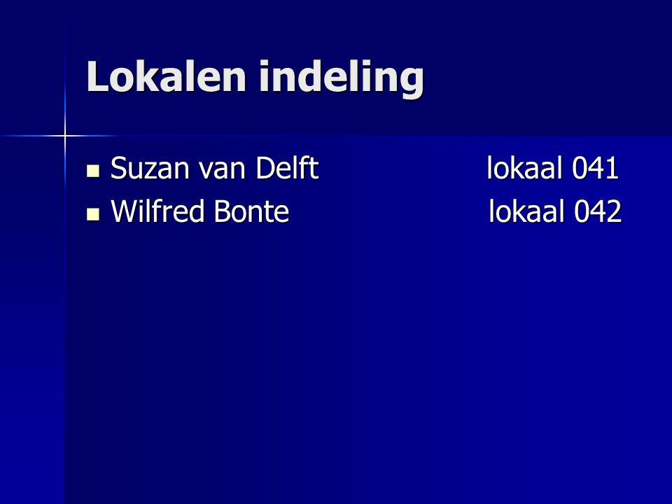 Lokalen indeling Suzan van Delft lokaal 041 Suzan van Delft lokaal 041 Wilfred Bontelokaal 042 Wilfred Bontelokaal 042