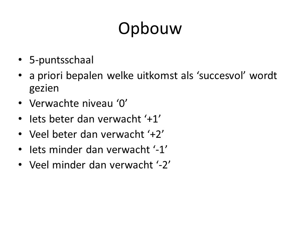 Opbouw 5-puntsschaal a priori bepalen welke uitkomst als 'succesvol' wordt gezien Verwachte niveau '0' Iets beter dan verwacht '+1' Veel beter dan verwacht '+2' Iets minder dan verwacht '-1' Veel minder dan verwacht '-2'