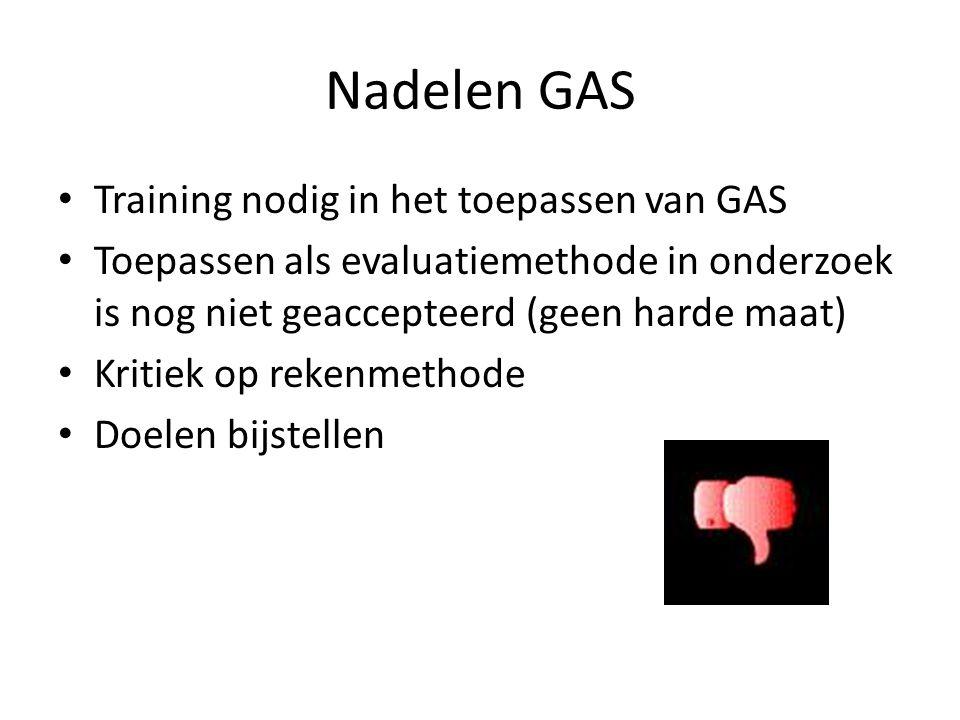 Nadelen GAS Training nodig in het toepassen van GAS Toepassen als evaluatiemethode in onderzoek is nog niet geaccepteerd (geen harde maat) Kritiek op rekenmethode Doelen bijstellen