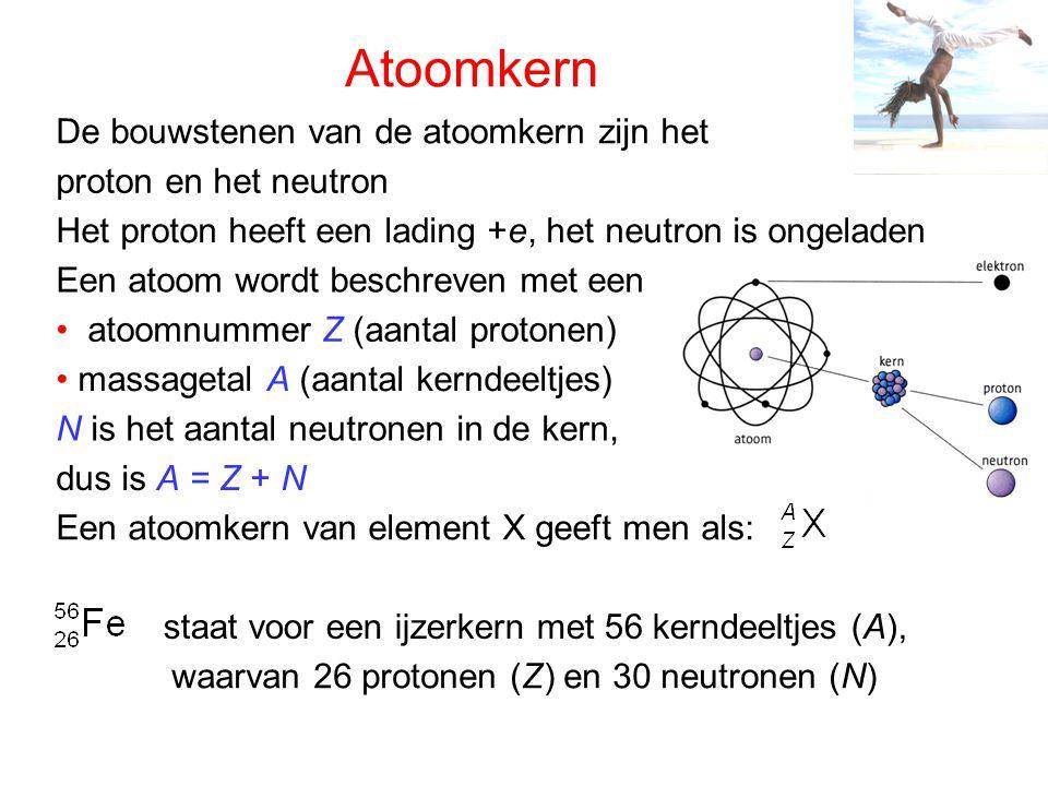 Isotopen en elementaire deeltjes aantal neutronen noem je isotopen, bijvoorbeeld Bij waterstof is er deuterium en tritium: De symbolen voor de elementaire deeltjes zijn: proton: neutron: elektron: Voor een heliumkern of α-deeltje is het: Kernen van hetzelfde element met een verschillend Er bestaat ook een positief elektron - het positron: