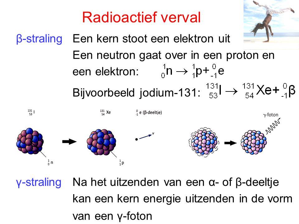 β-straling γ-straling Radioactief verval Een kern stoot een elektron uit Een neutron gaat over in een proton en een elektron: Bijvoorbeeld jodium-131: