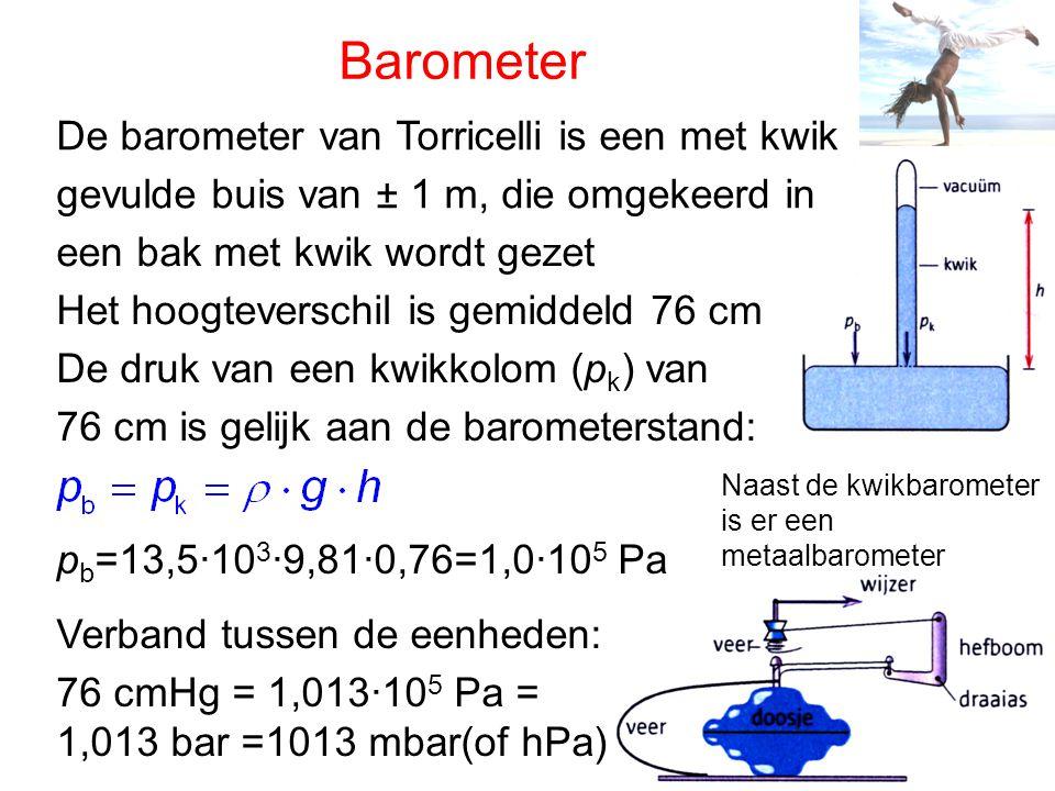 Manometer De druk van een gas in een ruimte wordt gemeten met een manometer Een open vloeistofmanometer bestaat uit een U-buis met vloeistof, het hoogteverschil is een maat voor het verschil in druk met de buitenlucht (p b ) (overdruk) (onderdruk) Een metaalmanometer bestaat uit een gebogen holle buis, die als er gas in komt veert
