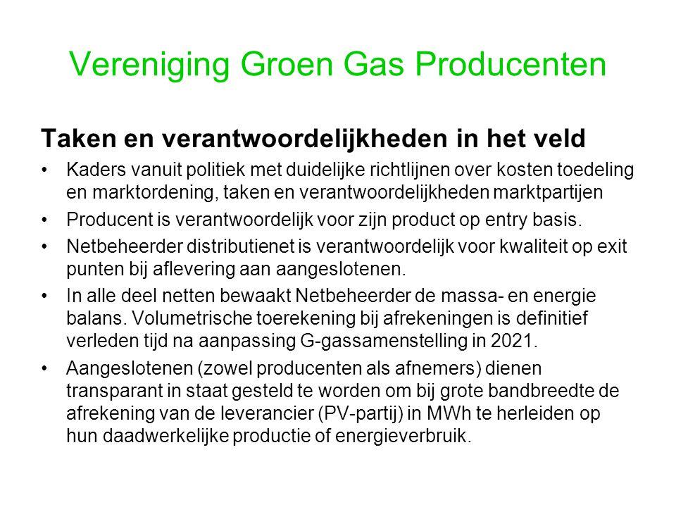 Vereniging Groen Gas Producenten Taken en verantwoordelijkheden in het veld Kaders vanuit politiek met duidelijke richtlijnen over kosten toedeling en