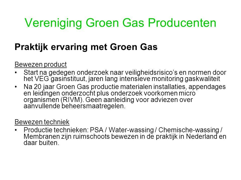Vereniging Groen Gas Producenten Praktijk ervaring met Groen Gas Bewezen product Start na gedegen onderzoek naar veiligheidsrisico's en normen door he