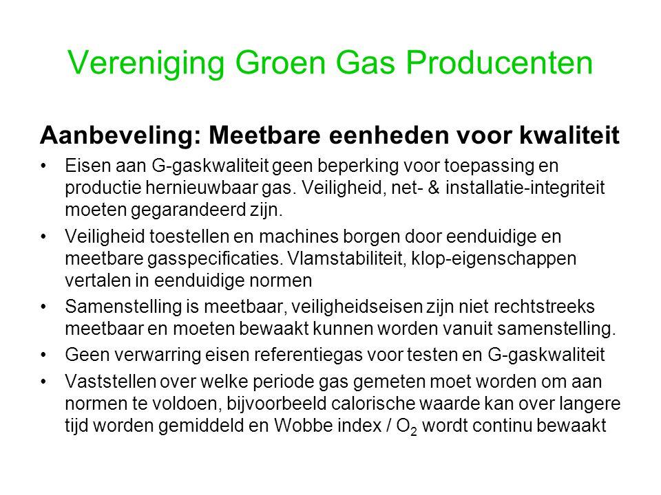 Vereniging Groen Gas Producenten Aanbeveling: Meetbare eenheden voor kwaliteit Eisen aan G-gaskwaliteit geen beperking voor toepassing en productie hernieuwbaar gas.