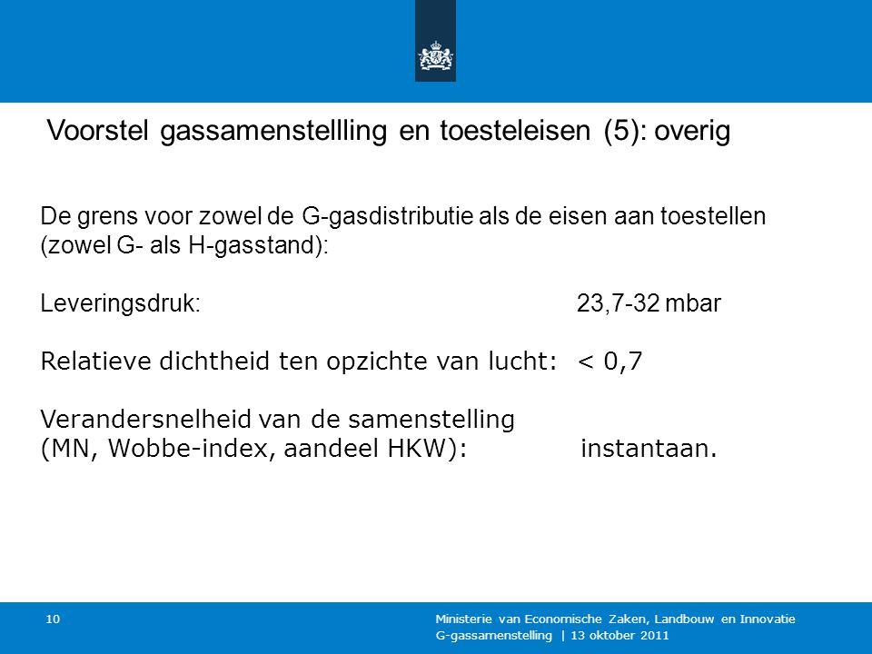 G-gassamenstelling | 13 oktober 2011 Ministerie van Economische Zaken, Landbouw en Innovatie 10 Voorstel gassamenstellling en toesteleisen (5): overig De grens voor zowel de G-gasdistributie als de eisen aan toestellen (zowel G- als H-gasstand): Leveringsdruk: 23,7-32 mbar Relatieve dichtheid ten opzichte van lucht: < 0,7 Verandersnelheid van de samenstelling (MN, Wobbe-index, aandeel HKW): instantaan.