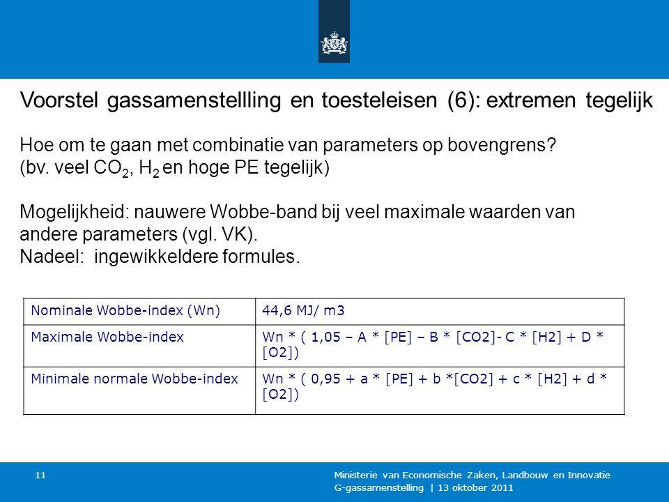 G-gassamenstelling | 13 oktober 2011 Ministerie van Economische Zaken, Landbouw en Innovatie 11 Hoe om te gaan met combinatie van parameters op bovengrens.
