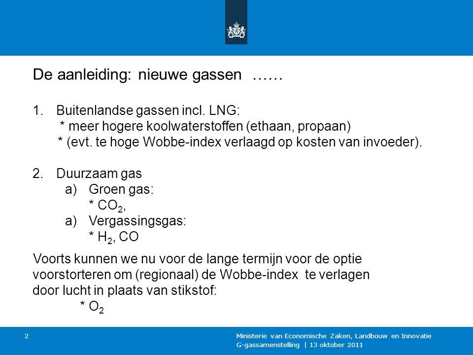 G-gassamenstelling | 13 oktober 2011 Ministerie van Economische Zaken, Landbouw en Innovatie 2 De aanleiding: nieuwe gassen …… 1.Buitenlandse gassen incl.