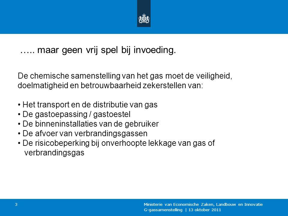 G-gassamenstelling | 13 oktober 2011 Ministerie van Economische Zaken, Landbouw en Innovatie 3 …..