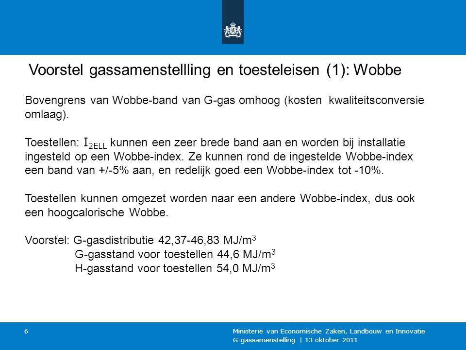 G-gassamenstelling | 13 oktober 2011 Ministerie van Economische Zaken, Landbouw en Innovatie 6 Voorstel gassamenstellling en toesteleisen (1): Wobbe Bovengrens van Wobbe-band van G-gas omhoog (kosten kwaliteitsconversie omlaag).