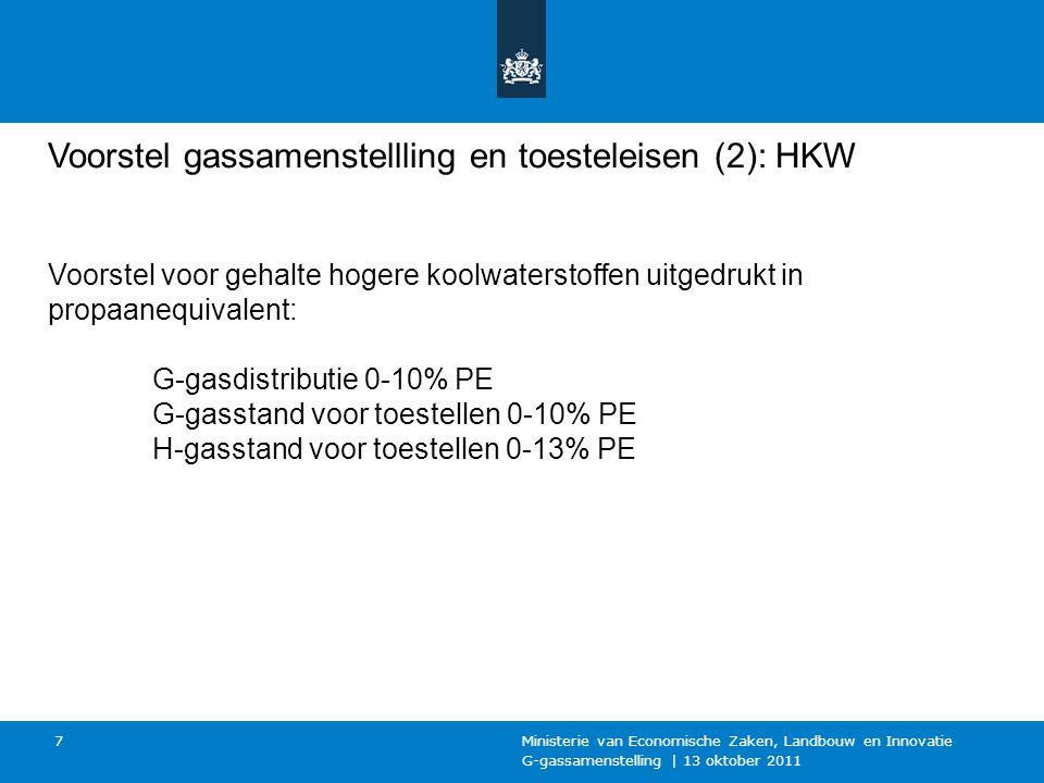 G-gassamenstelling | 13 oktober 2011 Ministerie van Economische Zaken, Landbouw en Innovatie 7 Voorstel gassamenstellling en toesteleisen (2): HKW Voorstel voor gehalte hogere koolwaterstoffen uitgedrukt in propaanequivalent: G-gasdistributie 0-10% PE G-gasstand voor toestellen 0-10% PE H-gasstand voor toestellen 0-13% PE