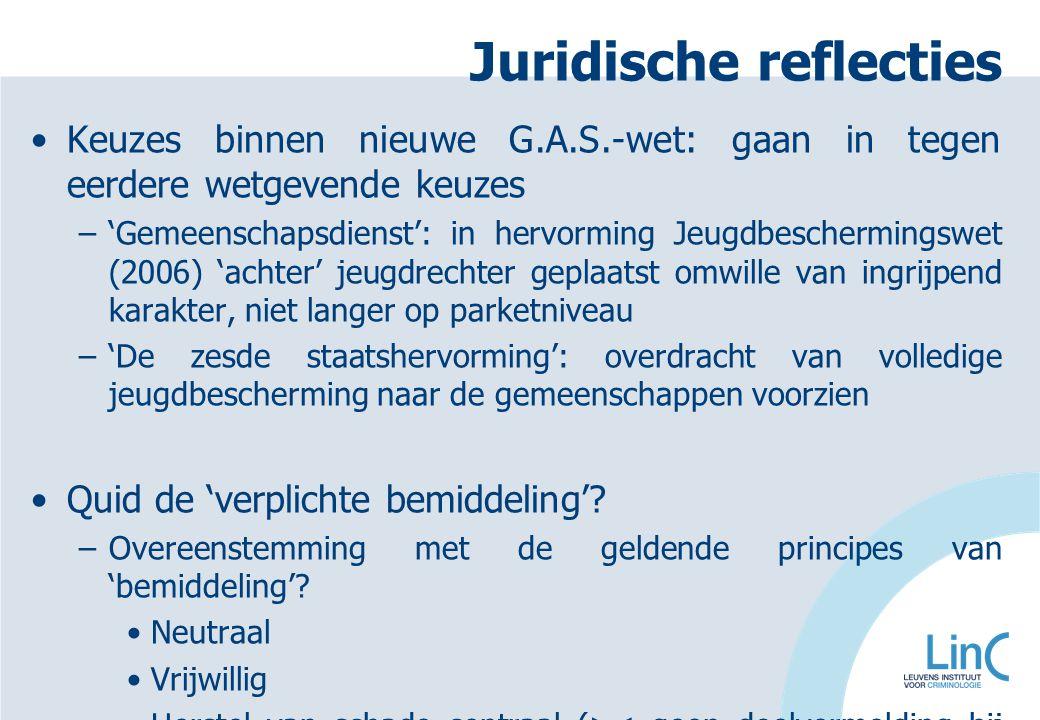 Juridische reflecties Keuzes binnen nieuwe G.A.S.-wet: gaan in tegen eerdere wetgevende keuzes –'Gemeenschapsdienst': in hervorming Jeugdbeschermingsw