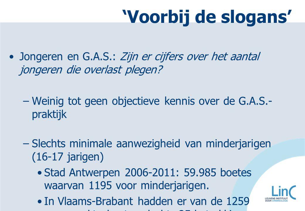 'Voorbij de slogans' Jongeren en G.A.S.: Zijn er cijfers over het aantal jongeren die overlast plegen? –Weinig tot geen objectieve kennis over de G.A.
