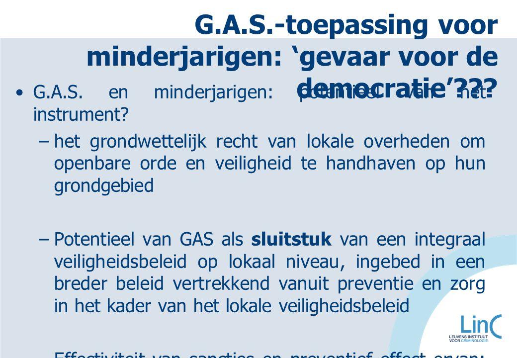 G.A.S. en minderjarigen: potentieel van het instrument? –het grondwettelijk recht van lokale overheden om openbare orde en veiligheid te handhaven op
