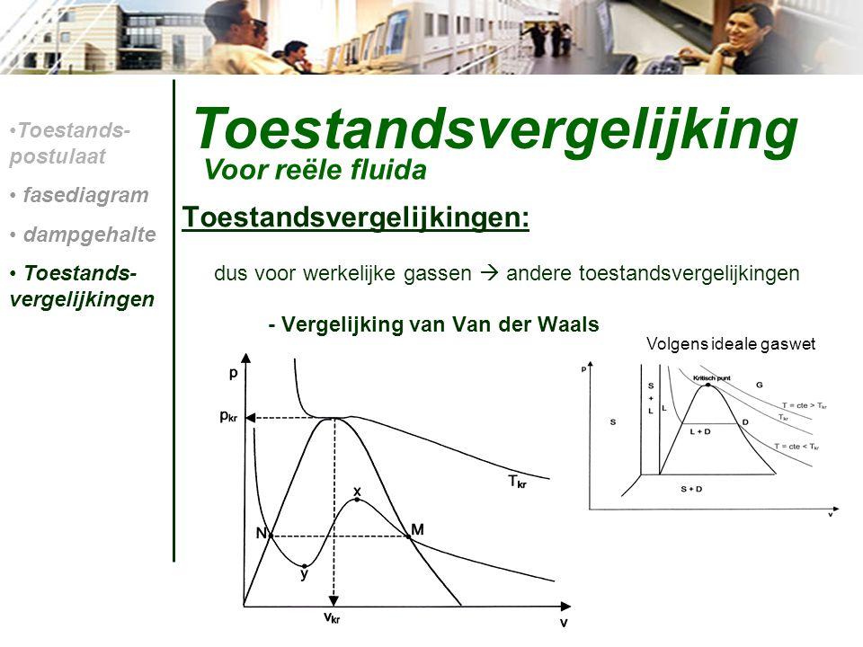 Toestandsvergelijking Toestandsvergelijkingen: dus voor werkelijke gassen  andere toestandsvergelijkingen - Vergelijking van Van der Waals Voor reële
