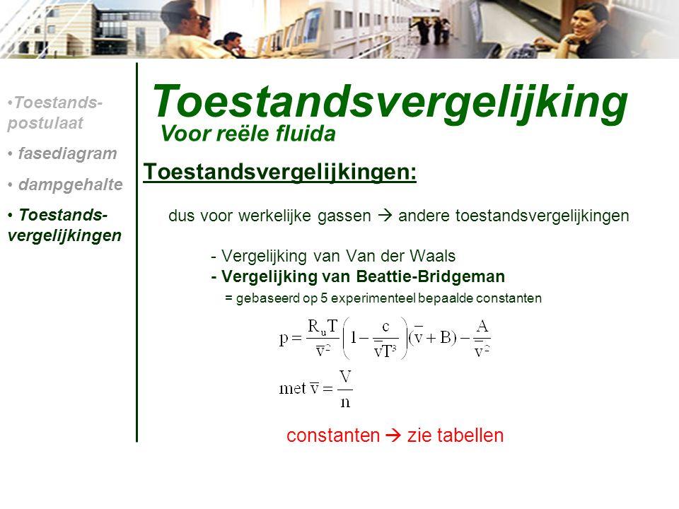 Toestandsvergelijking Toestandsvergelijkingen: dus voor werkelijke gassen  andere toestandsvergelijkingen - Vergelijking van Van der Waals - Vergelij