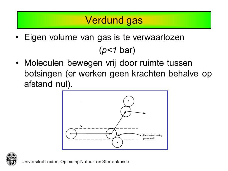 Universiteit Leiden, Opleiding Natuur- en Sterrenkunde Verdund gas Eigen volume van gas is te verwaarlozen (p<1 bar) Moleculen bewegen vrij door ruimt